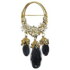 Vintage 1950s Miriam Haskell Crystal Dangling Brooch