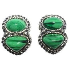 Vintage 1980s David Grau Faux Malachite Earrings