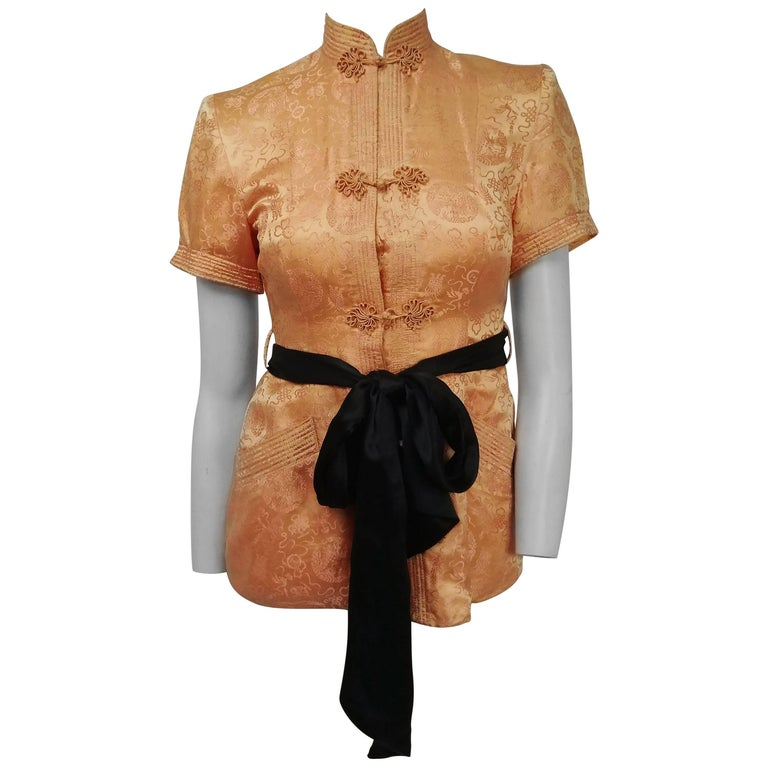 1940s Chinese Style High Collar Blouse w/ Ribbon Sash