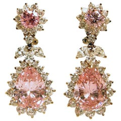 Brilliant  Pink And Clear Crystal Drop Earrings