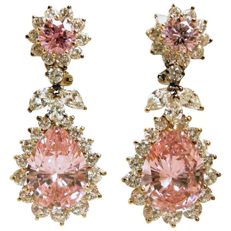 Brilliant Pink And Clear Crystal Drop Earrings For