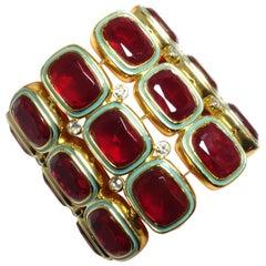 Wide Kenneth Jay Lane Red Rhinestone And Turquoise Enamel Stretch Bracelet