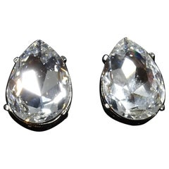 Kenneth Jay Lane Clear Rhinestone Teardrop Earrings