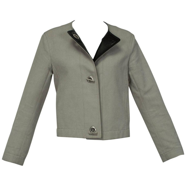 Hermès Paris Khaki Toggle Jacket with Leather Placket, 1990s