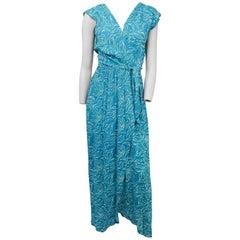 1970s Adele Simpson Summer Wrap Dress w/ Cowl Back