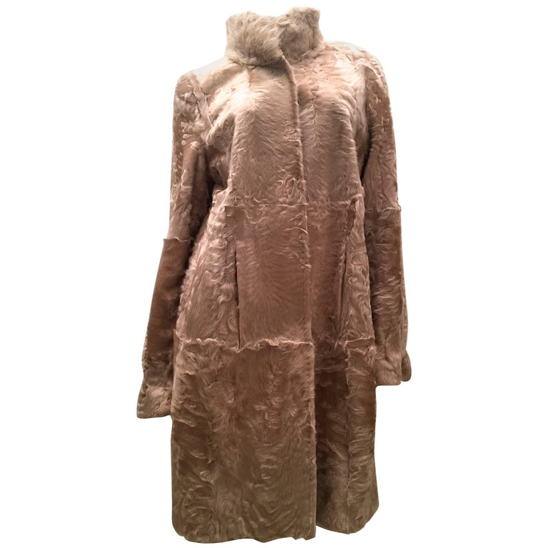 Swakara Lamb Fur Coat Fully Reversible Silk Taffeta Beige