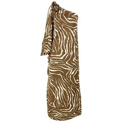 1970s Bill Tice Zebra Print One Shoulder Jersey Dress