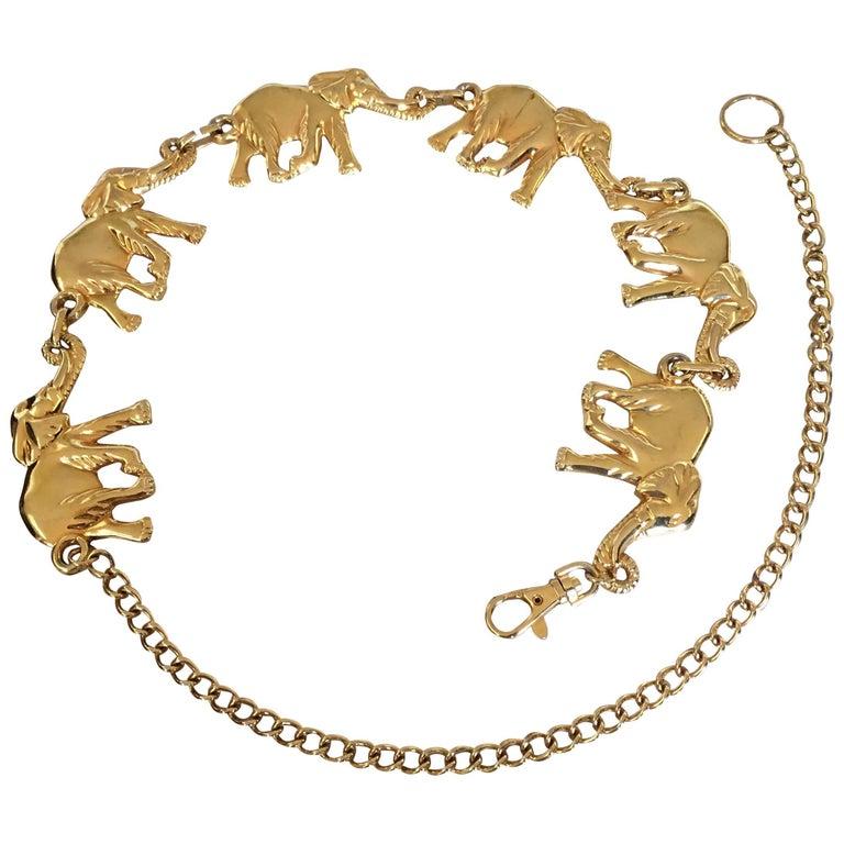 Vintage Jumbo Gold Elephant substential chain link belt For Sale