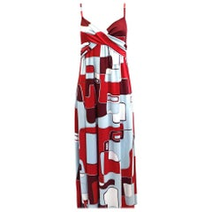 Silk Jersey Red Aqua Printed Maxi Boho Flora Kung Dress