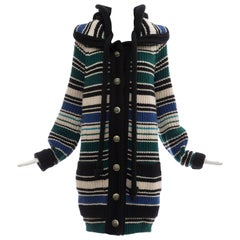 Nicolas Ghesquière For Balenciaga Striped Wool Knit Hooded Cardigan, Fall 2007