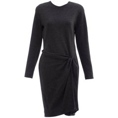 Donna Karan Charcoal Grey Alpaca Wool Crepe Jersey Wrap Dress,  Circa 1980's