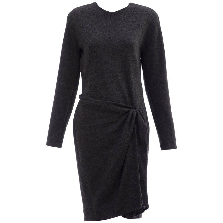 Donna Karan Charcoal Grey Alpaca Wool Crepe Jersey Wrap Dress,  Circa 1980's