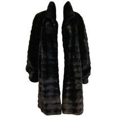Black Horizontal Mink Reversible Short Coat