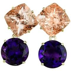 13.9 Ct of Morganite + 9.97 Ct of Amethyst Sterling Silver Stud Dangle Earrings