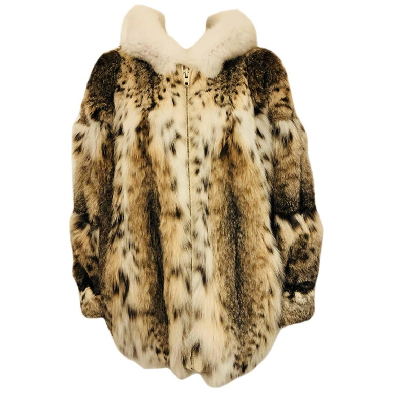 f2276b3bd9c7b Marshall Fields Spotted Lynx Hood Jacket For Sale at 1stdibs