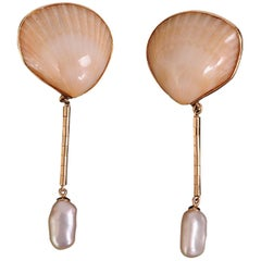 Marguerite Stix Night and Day Shell Pearl and Gold Earrings