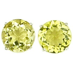 12 Carats of Champagne Quartz Sterling Silver Stud Earrings