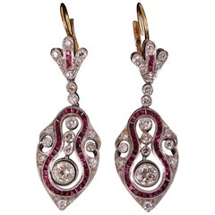 Art Deco Diamond Ruby and Platinum Earrings