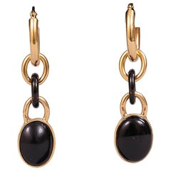 18K Gold and Onyx Vintage Pierced Earrings, Made in Italy