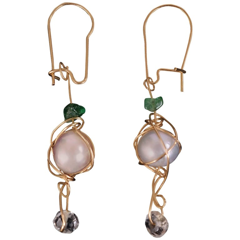 Kazuko Pearl, Emerald, Crystal and Gold Earrings For Sale