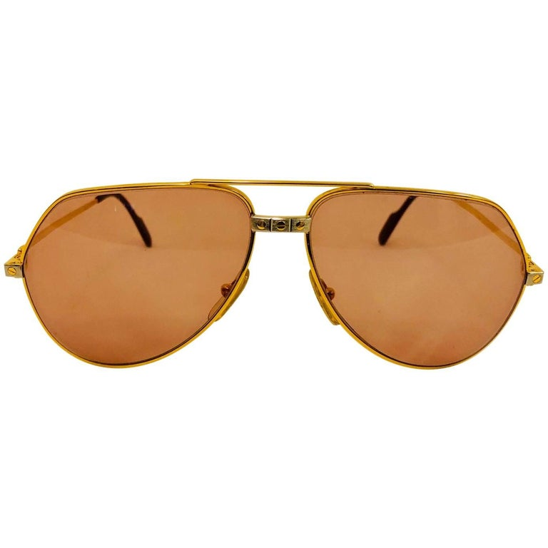 88b9a6f6ae16a1 Cartier Vendome Santos Vintage Satin Sunglasses 62 14 For Sale at ...