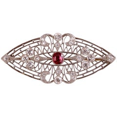 Burma Ruby Diamond and Platinum Brooch