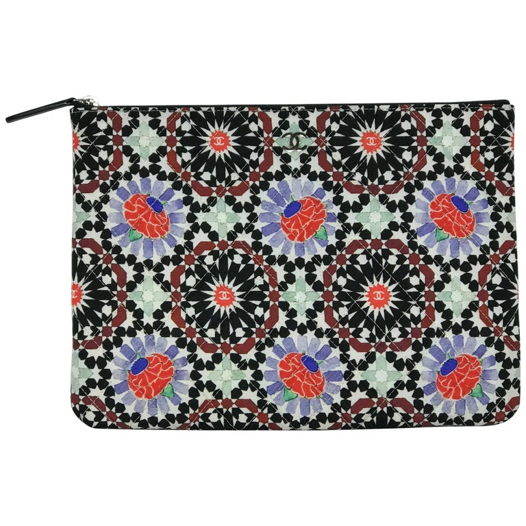Chanel Dubai O Clutch Kaleidoscope Floral and Diamond Pattern