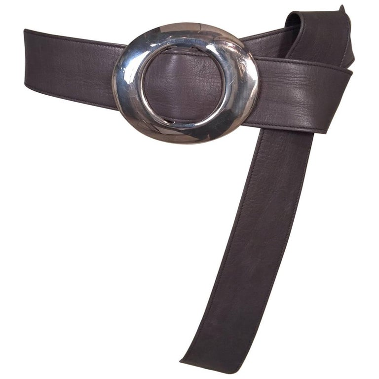 Elsa Peretti Tiffany & Co. Sterling Buckle and Charcoal Grey Leather Belt Unworn