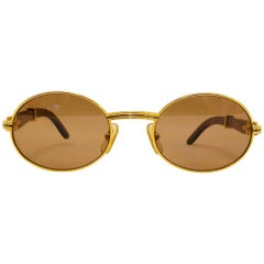 Vintage Cartier Giverny Palisander 18K Gold & Rosewood Sunglasses 53 22
