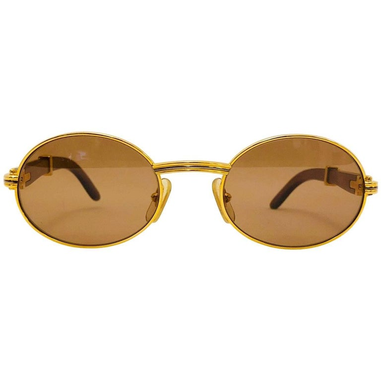 aef0daae5a0 Vintage Cartier Giverny Palisander 18K Gold   Rosewood Sunglasses 53 22 For  Sale