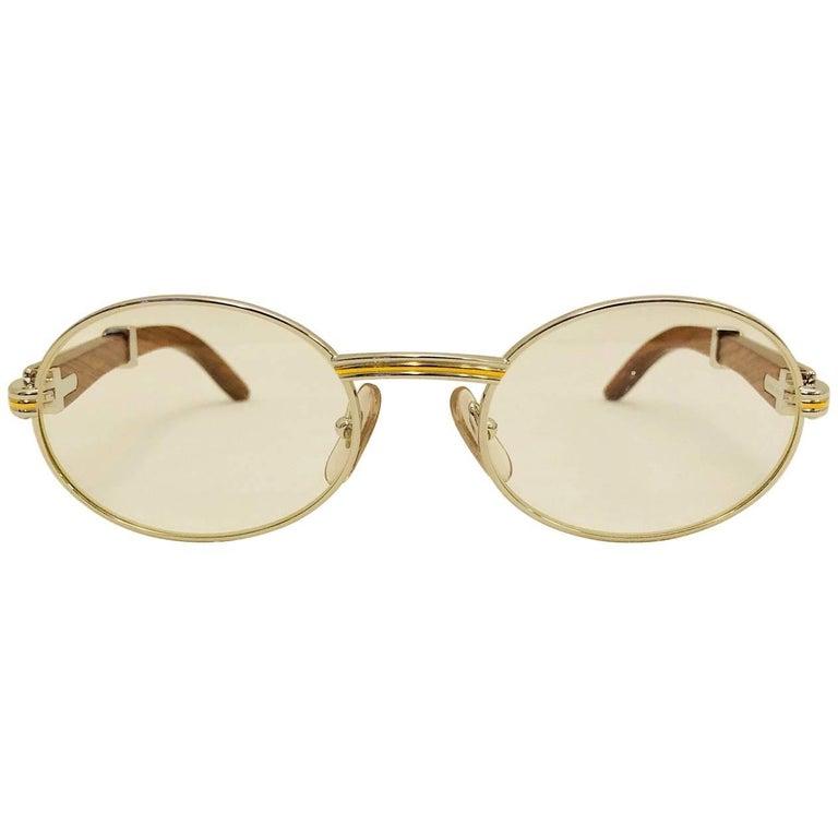 97c2bff94468 Vintage Cartier Giverny Palisander 18K Gold   Rosewood Glasses 51 20 For  Sale