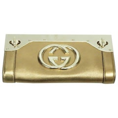 Gucci Bronze Leather and Gold Hardware Britt Clutch