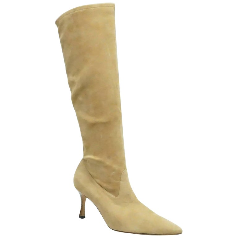 Manolo Blahnik Camel Suede Tall Boot - 38.5