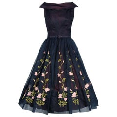 1950's Claudia Young Floral Garden Embroidered Navy Organza Belted Party Dress