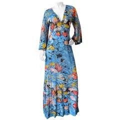 1970s Floral Printed Gottex Maxi Dress