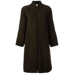 70s Brown Wool Saint Laurent Russian Coat