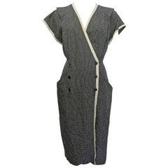 Ungaro Solo Donna Black and White Linen Dress, 1980s