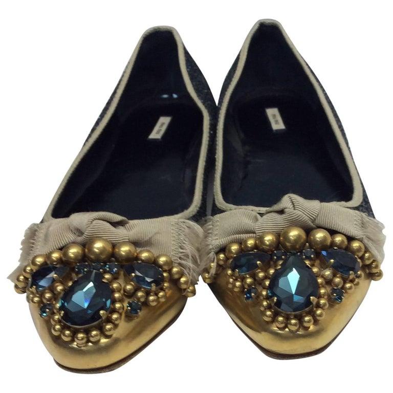 Miu Miu Blue Glitter Ballet Flats