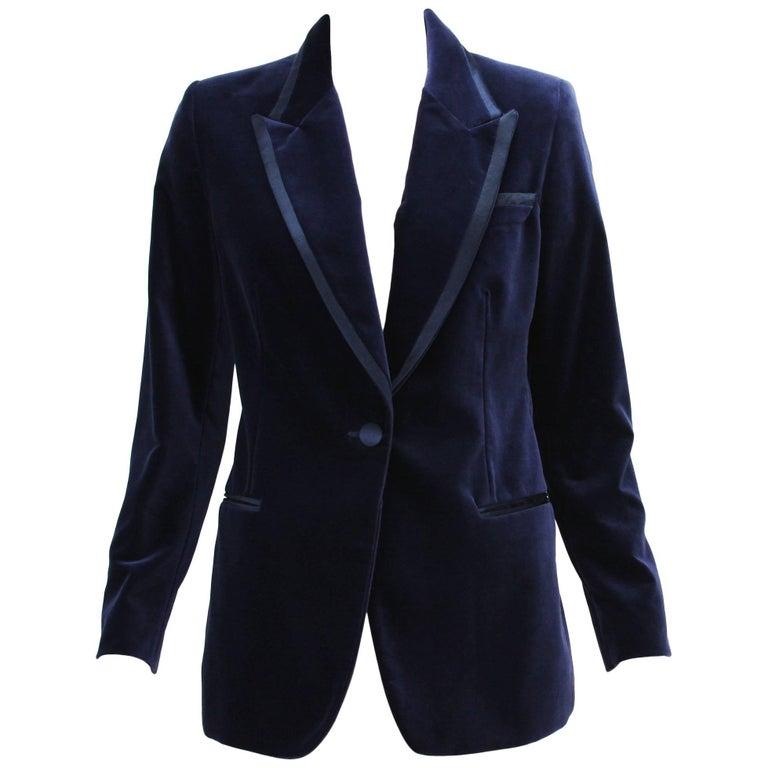 Tom Ford for Gucci 1996 Collection Dark Blue Velvet Tuxedo Jacket Blazer It. 42