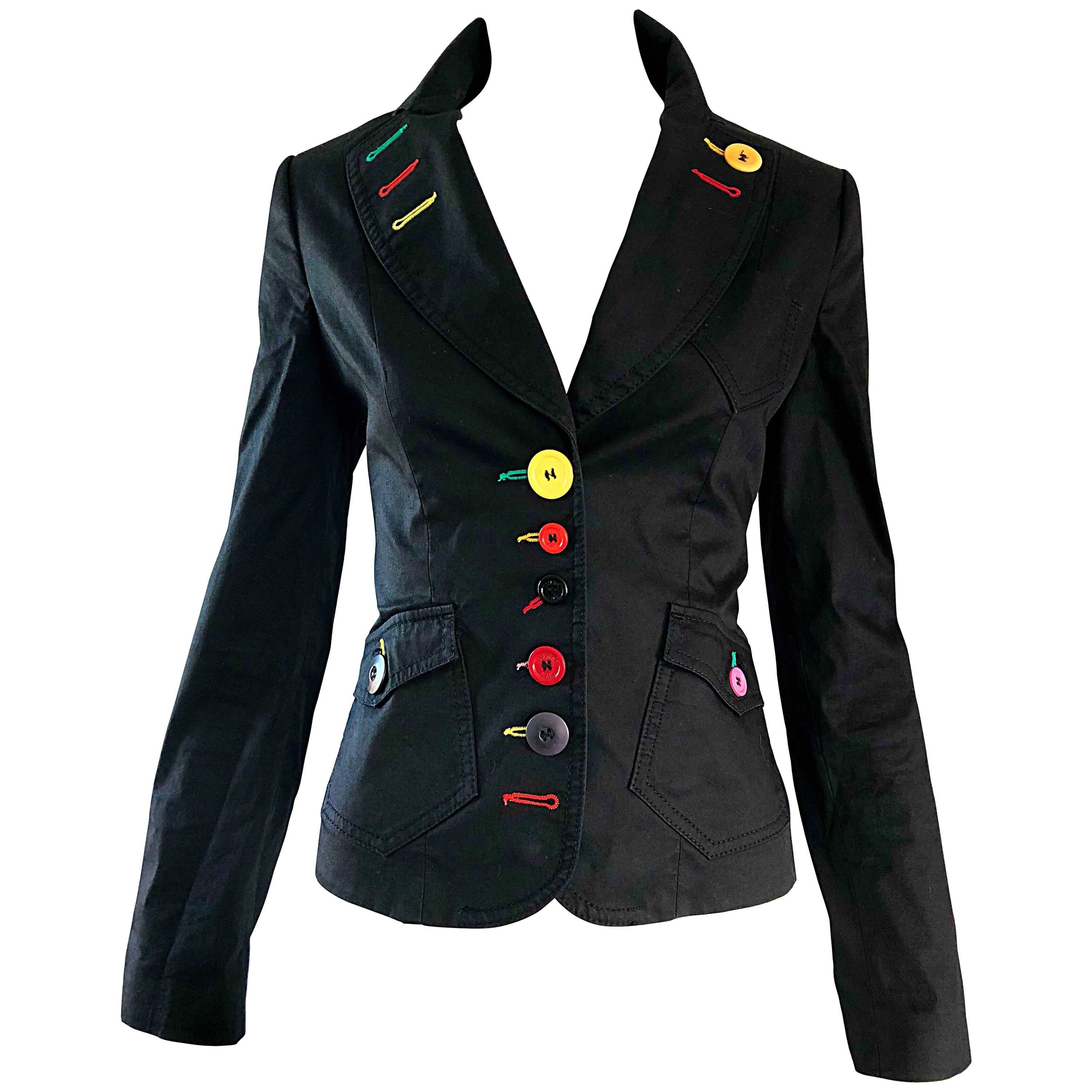Vintage Moschino 1990s Black Stylish Rainbow Buttons Fitted 90s Blazer Jacket