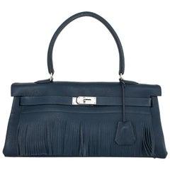 Hermes Blue Brighton Taurillon Clemence Kelly Fringe Unisex - Rare