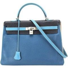Hermes 4 color Kelly 35cm Blue Jean Blue Nuit Clemence Limited Edition - Rare