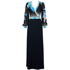 LEONARD Vintage 1970s Silk Jersey Bleu Flowers Black Dress