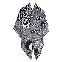 Hermes Black and Grey Cat and Bird Headdress Cashmere Shawl Scarf GM