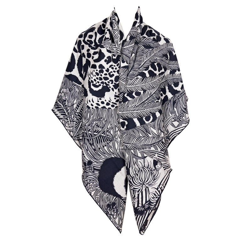 Hermes Black and Grey Cat and Bird Headdress Cashmere Shawl Scarf GM For Sale