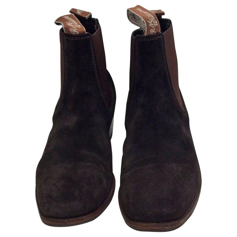 rm williams suede brown pull on ankle boots for sale at