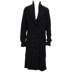 Yves Saint Laurent Vintage Tricot Black Wool & Alpaca Cardigan