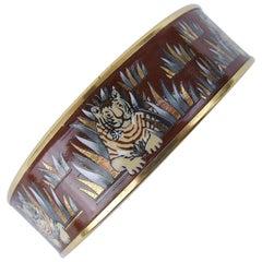 Hermes Vintage Printed Enamel Bracelet Tigers in the Herbs Joachim Metz GHW RARE