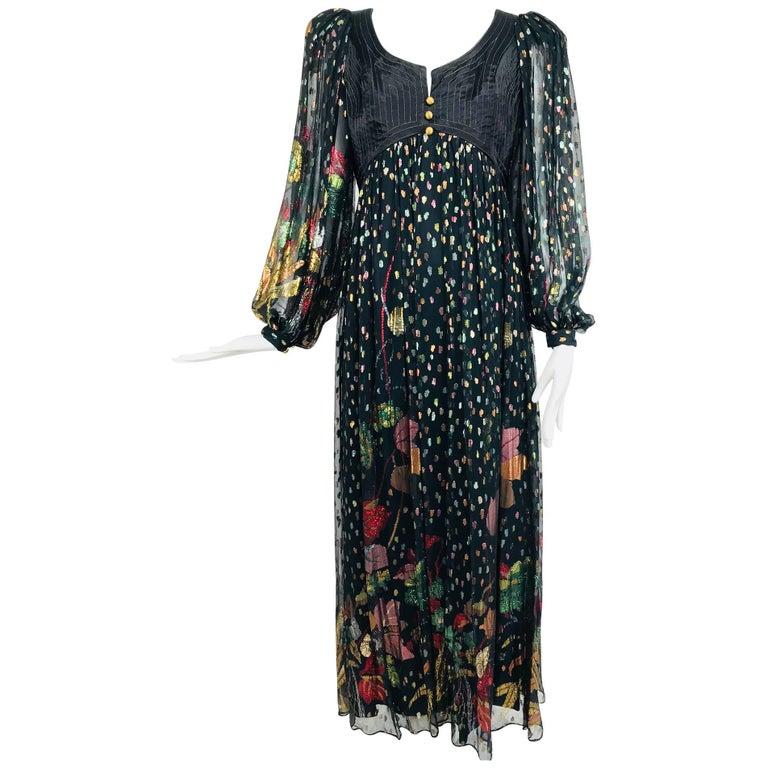 Bob Mackie black metallic silk chiffon quilted bodice maxi dress, 1970s