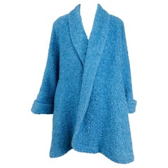 Blue mohair boucle swing coat with poodle lining, 1950s